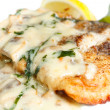 Grilled steak catfish under olive sauce - Stock Photo
