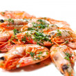Cooked shrimps with greens - Stock Photo