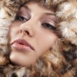 Close up of woman fur around the face — Stock Photo #6765379