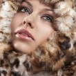 Woman i furry coat - Stock Photo