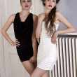 Beautiful girls in black and white dress posing towards the came — Stock Photo