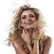 Laughing girl with hair in wind — Stock Photo #6881523