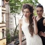 Beauty ladys elegant dressed outside — Stock Photo #7124105