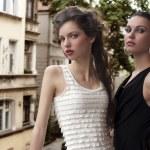 Beauty ladys elegant dressed outside — Stock Photo