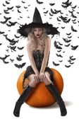 Sensual witch dressed in black — Stock Photo