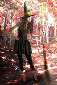 Pretty and cute witch with broom inside a forest — Stock Photo