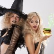 Stock Photo: Magic of 2 black witches