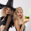 The magic of 2 black witches — Stock Photo