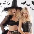 Stock Photo: Two dark magic witches