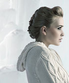 Profile shot of a beautiful blonde with an up do — Stock Photo