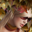 Blond girl portrait with stylish sunglasses — Stock Photo