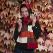 Smiling brunette in autumn scarf — Stock Photo