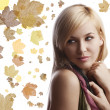 Portrait of  blond girl with beautiful scarf posing — Stock Photo