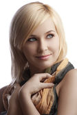 Portrait of blond girl with beautiful scarf — Stock Photo
