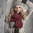 Young pretty blonde winter woman — Stock Photo #7304035