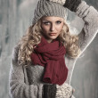 Young pretty blonde winter woman — Stock Photo
