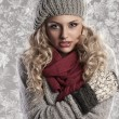 Wonderful blonde girl in woolen winter clothes — Stock Photo #7304046