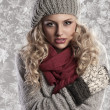 Wonderful blonde girl in woolen winter clothes — Stock Photo