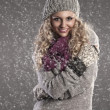 Winter portrait of a pretty blonde — Stock Photo