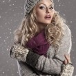 Fashion blonde winter girl — Stok fotoğraf
