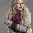 mode blonde winter meisje — Stockfoto