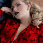 sexy dívka černá rtěnka — Stock fotografie