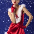 Royalty-Free Stock Photo: Red and sexy santa claus girl