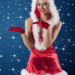 Beauty girl in a red santa claus dress with white feathers — Foto de Stock