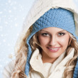 Blue hat on a blond girl — Stock Photo