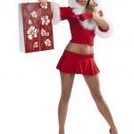 Sexy christmas shopping girl — Stock Photo