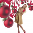 Elegant young woman celebrating christmas — Stockfoto