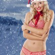 Sexy santa claus girl on christmas background — Stock Photo