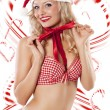 Sexy santa claus and candy canes — Stock Photo