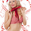 Sexy santa claus and candy canes — Stock Photo #7581802