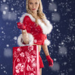 Pretty girl santa claus standing with shopping bag — Stock Photo