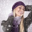 Winter girl with scarf and gloves - Foto Stock