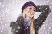 Winter girl with scarf and gloves — Stock Photo