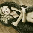 Sexy girl in lingerie with fur, her arms are crossed — Stock Photo