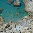 Cove and blue water - Stock Photo