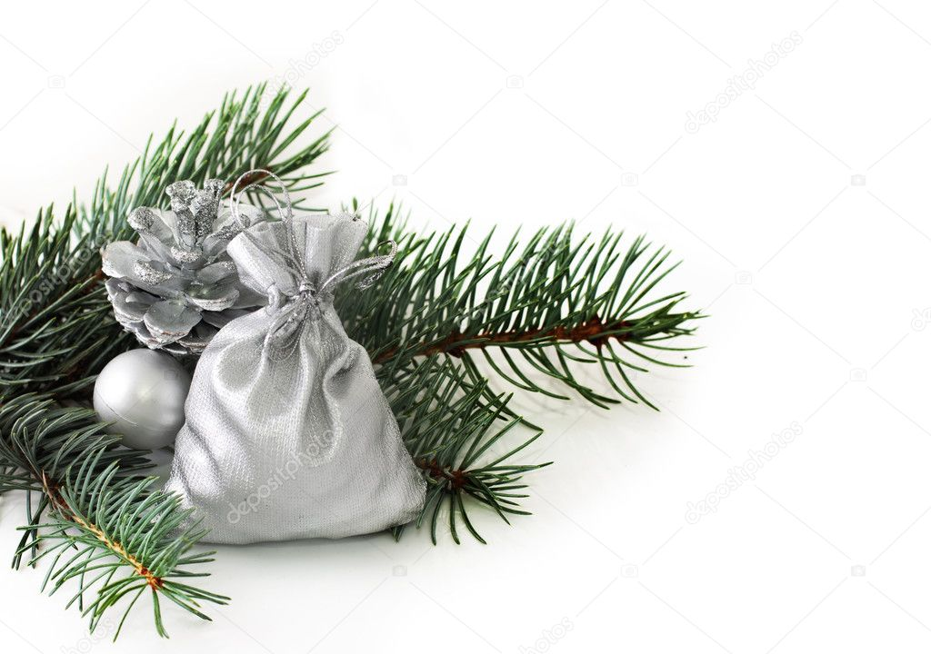 Fir branch and Christmas decorations — Foto Stock #7037082