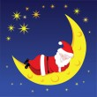 Santa sleeping on the moon — Stock Vector