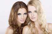 Twee meisje vrienden - blond en brunette — Stockfoto