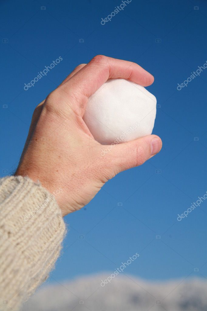 Happy snow ball fight in winter time  Stock Photo #7502406