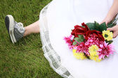 Running Shoes and Weddingg Dress — Stock Photo