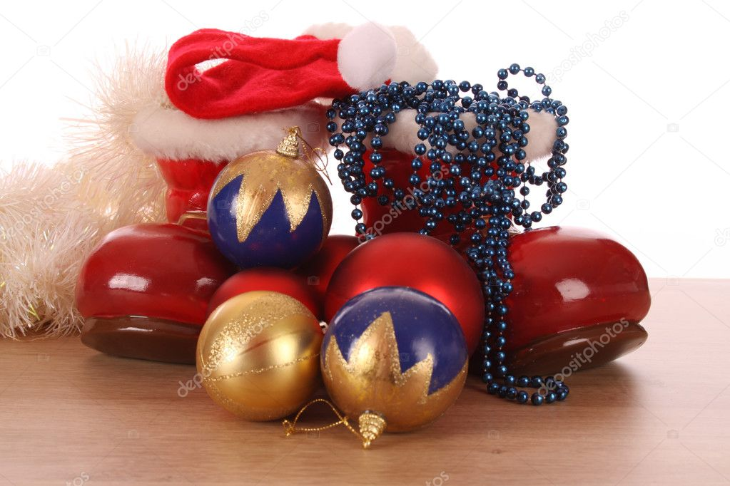 FILLED SANTA'S BOOTS — Stock Photo #7871624