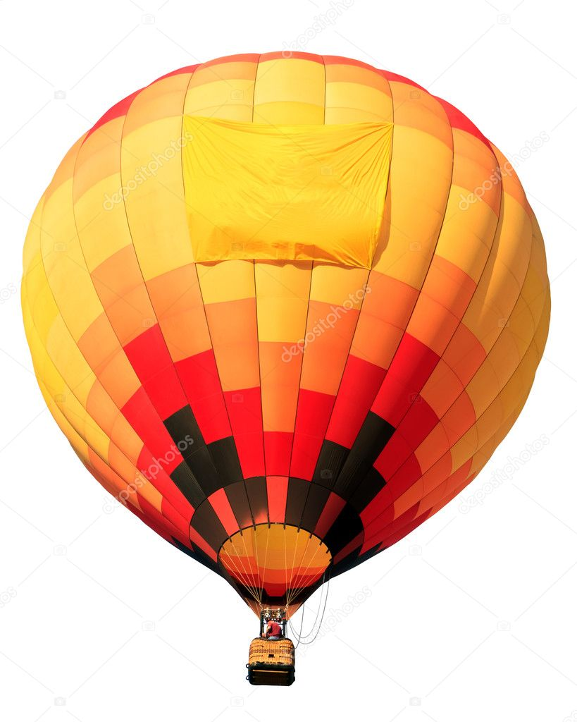 Colorful hot air balloon isolated on white background with blank banner — Stock Photo #6866133