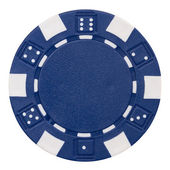Blue poker chip — 图库照片