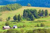 Small summer mountain village church — Stock Photo