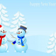Winter background with snowman and fir trees - Stockvektor