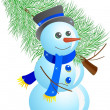 Snowman with fir tree - Stockvectorbeeld